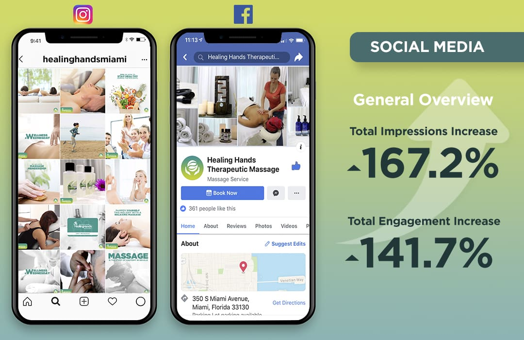social media grid, instagram, facebook, healing hands